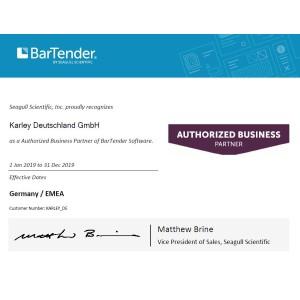 Seagull BarTender 2019 Starter, Anwendungslizenz & 2 Drucker mit 12 Monate Standard Support & Maintainance