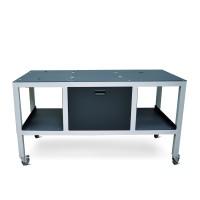 OKI Eisentisch mit Rädern für den OKI 1050 Pro und den Aufwickler für eine reibungslose Mobilität in der Druckeranwendung, optional die separate Tischerweiterung für den Matrixentferner des OKI 1050 Pro mitbestellen