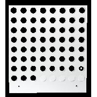 Primera Eddie - manuelles Tablett 12 cm Quadrat - 10/12 mm 8x8 Radius (MM) (64 Löcher mit 10 mm Durchmesser; für Objekte mit maximaler maximal 12mm Außendurchmesser), z.B. für Macarons, kleine Plätzchen u.v.m