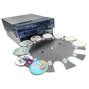 Primera Eddie Drucker für Lebensmittel - Plätzchen, Cookies, Marzipan, Macarons, Amerikaner, Schokolinsen, weiße Schokolade oder Opladen bedrucken mit Drehteller Zuführung