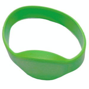 RFID Wristband Silikon mit ovalem Kopf, grün mit MIFARE Calssik 1K NXP Original Chipset, 65mm Durchmesser