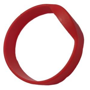 RFID Wristband Silikon mit ovalem Kopf, rot mit MIFARE Calssik 1K NXP Original Chipset, 55mm Durchmesser