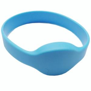 RFID Wristband Silikon mit ovalem Kopf, hellblau mit Fundan F08 (FM08) Chipset, 65mm Durchmesser