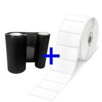 Zebra ZipShip Kit4, bestehend aus 1 Rolle Z-Select 3000T Etiketten, 51x25mm, 2580 Etiketten/Rolle und 1x Farbband 5095, Harz, 110mm, für Desktop Drucker