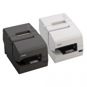 Mehrstationen-Drucker kombiniert Thermodirekt & Nadeldruck, Epson TM-H6000V, USB, RS232, Ethernet, Cutter, MICR, OPOS, ePOS, schwarz
