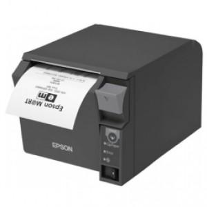 Thermodrucker, Epson TM-T70II, USB, LPT, dunkelgrau, 7 Punkte/mm (180dpi), Rollendurchmesser (max.): 83mm, Geschwindigkeit (max.): 250mm/Sek., Kassendrucker mit praktischer Frontbedienung