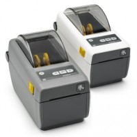 Platzsparender schmaler Thermodirekt Etikettendrucker Zebra ZD410, 8 Punkte/mm (203dpi), VS, EPLII, ZPLII, USB, Ethernet, dunkelgrau
