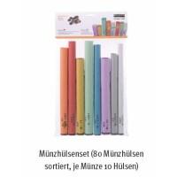 Münzhülsen-Set für coinsorter Münzzähler ratiotec Coinsorter CS50, 10 Stück je Münzwert