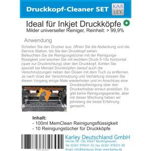 Inkjet Druckkopf Reiniger Set, bestehend aus 100ml MemClean und 10 Reinigungstüchern
