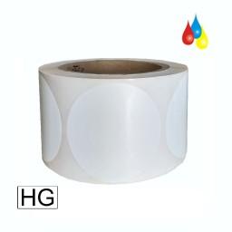 64mm rund, 1000 Etiketten auf Rolle, (2,5'' ) Papier weiß glänzend Kern: 76mm (3'') AD: 15,2cm (6'') für Primera LX810e, LX900e, LX910e, LX1000e, LX2000e
