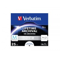 BD-R 25GB Verbatim 4x M-Disc Inkjet white 5er Jewel Case